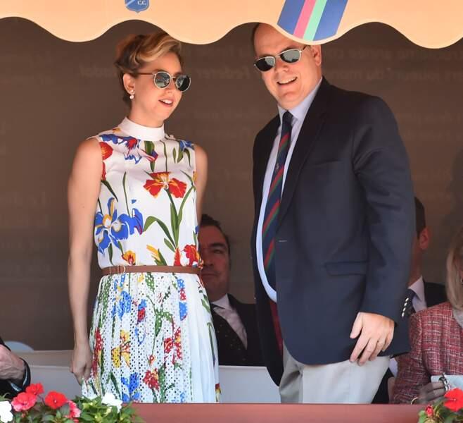 Jazmin Grimaldi et son père le prince Albert II de Monaco n'hésitent plus à s'afficher ensemble, comme ici en tribune lors du Rolex Monte-Carlo Masters 2018 à Roquebrune Cap Martin le 19 avril 2018