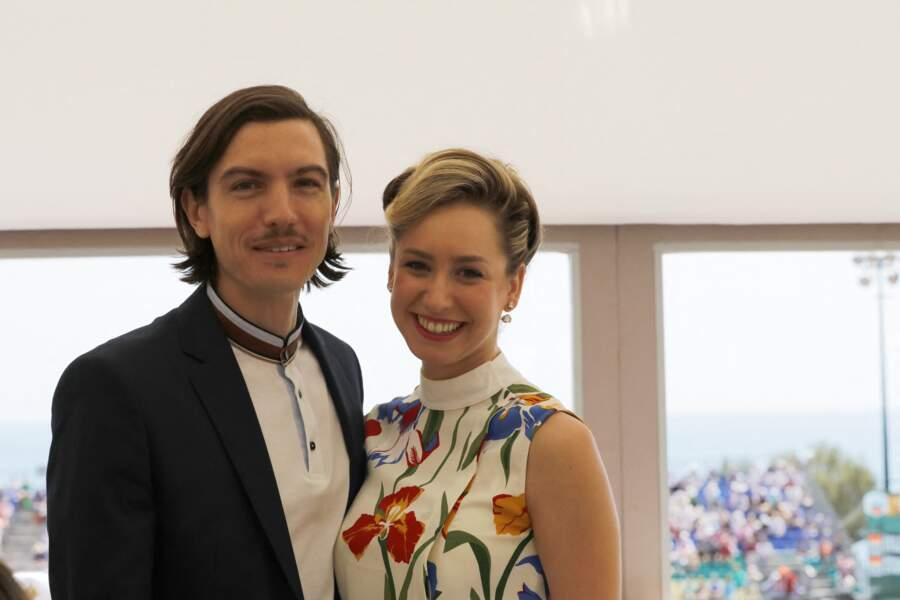 La fille du prince Albert II, Jazmin Grimaldi a bien grandi et pose avec son compagnon Ian Mellencamp au tournoi Rolex Monte-Carlo Masters 2018 le 19 avril 2018