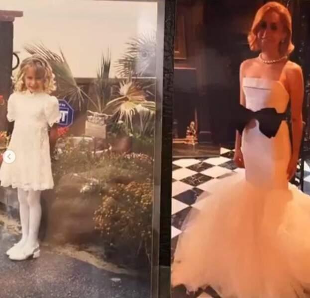 Elle n'a quasiment pas changé, comme le montre ce montage de deux photos de Jazmin Grimaldi en magnifique en robe blanche, jeune, puis plus récemment. Toujours aussi belle !