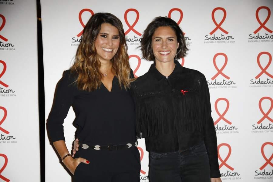 Karine Ferri et Alessandra Sublet à la soirée de lancement du Sidaction 2019 à la salle Wagram à Paris, le 18 mars 2019.
