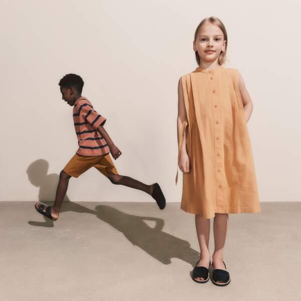 T-shirt à Rayures Enfant, 9,90€ - Short Uniqlo U en Jersey Enfant, 19,90€ - Robe Seersucker Sans Manches Fille, 29,90€, Uniqlo U