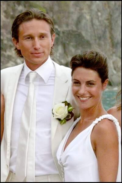 Alessandra Sublet et son premier mari, Thomas Volpi, à l'église de Gustavia sur l'île de Saint-Barthélémy le 26 avril 2008