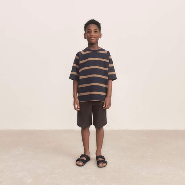 T-shirt à Rayures, 9,90€, Uniqlo U - Short en Jersey Enfant, 19,90€, Uniqlo U