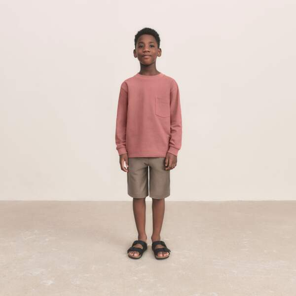 T-shirt Col Rond Manches Longues Enfant,14,90€, Uniqlo U  - Short en Jersey Enfant, 19,90€, Uniqlo U