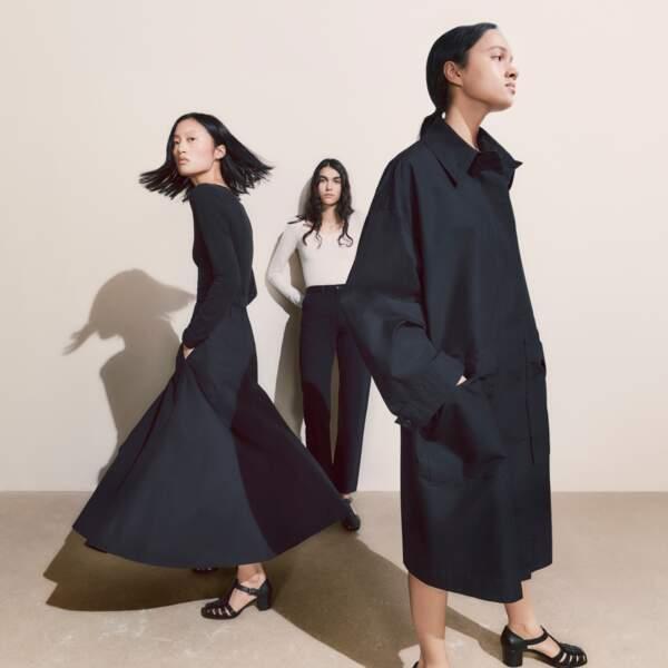 Jupe Évasée en Coton Femme, 39,90€, Uniqlo U - Manteau long en Coton Femme, 79,90€, Uniqlo U