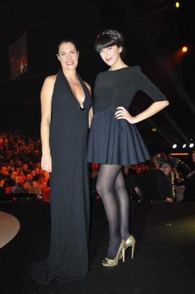 Alessandra Sublet (enceinte) et Nolwenn Leroy aux 27ème victoires de la musique à Paris, en mars 2012