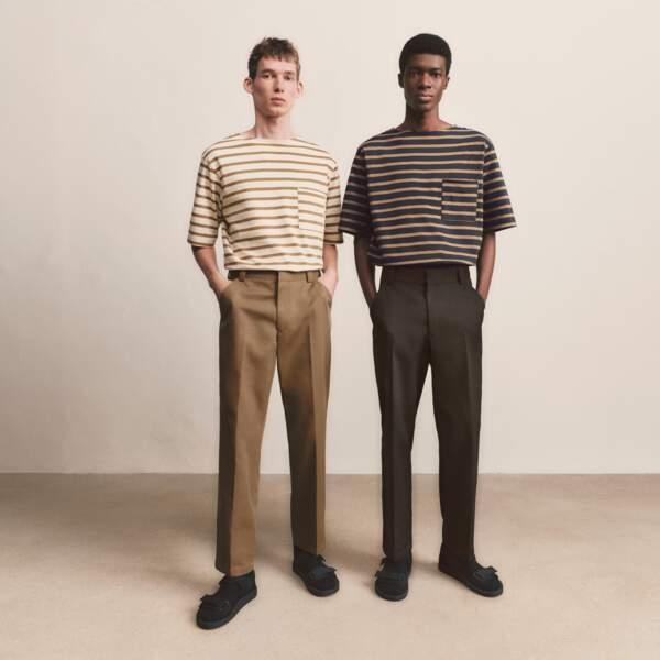 À gauche :  T-shirt Rayé, 19,90€ - Pantalon coupe droite, 39,90€ - Sandales Homme, 39,90€   À droite : T-shirt Rayé, 19,90€ - Pantalon Homme, coupe Droite, 39,90€ - Sandales Homme, 39,90€