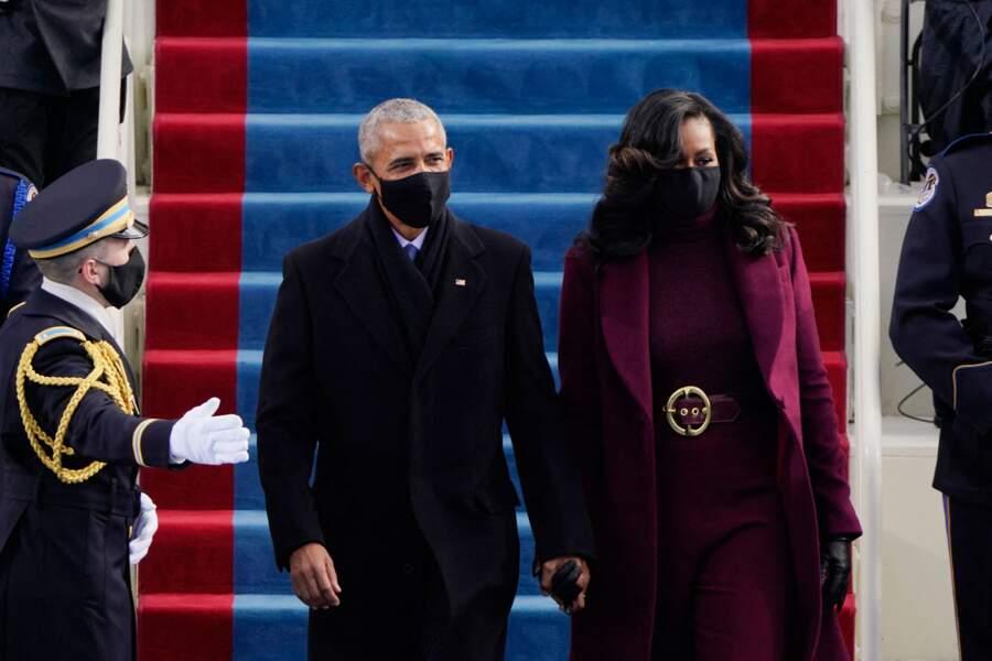 Mais en politique, Barack et Michelle Obama (ici lors de l'investiture de Joe Biden le 20 janvier 2021) forment aussi un couple soudé