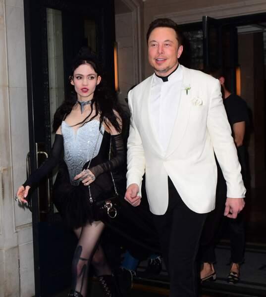 Elon Musk et Grimes lors du Met Gala de New York le 7 mai 2018