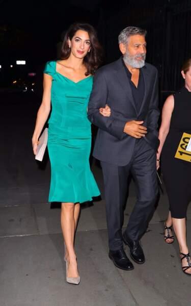 Amal Clooney et George Clooney, ici à New York le 1er octobre 2019, se sont mariés le 27 septembre 2014 en Italie