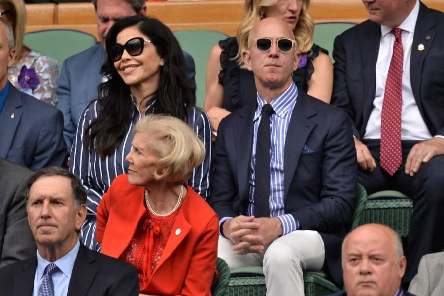 Jeff Bezos et Lauren Sanchez, ici au tournoi de Wimbledon le 14 juillet 2019 : un amour né du scandale