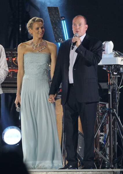 Charlène de Monaco et le prince Albert lors des célébrations de leur mariage civil en juin 2011