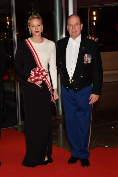 Charlène de Monaco et le prince Albert lors d'un gala au Grimaldi Forum le 19 novembre 2018