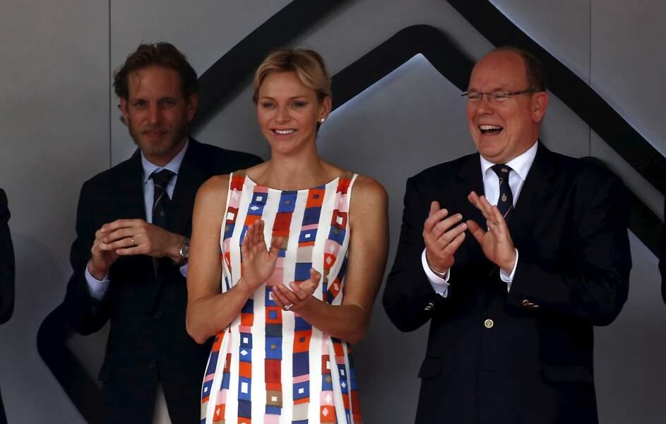 Charlène de Monaco et le prince Albert au Grand Prix de Formule 1 le 27 mai 2018