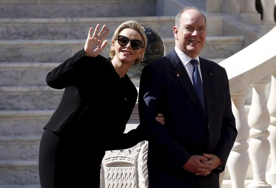 Charlène de Monaco et le prince Albert au palais princier le 24 mars 2019