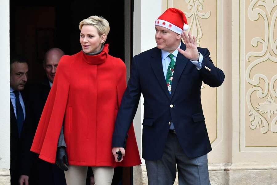 Charlène de Monaco et le prince Albert au palais princier le 20 décembre 2017