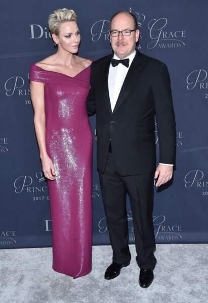 Charlène de Monaco et le prince Albert au Beverly Hilton Hotel le 25 octobre 2017