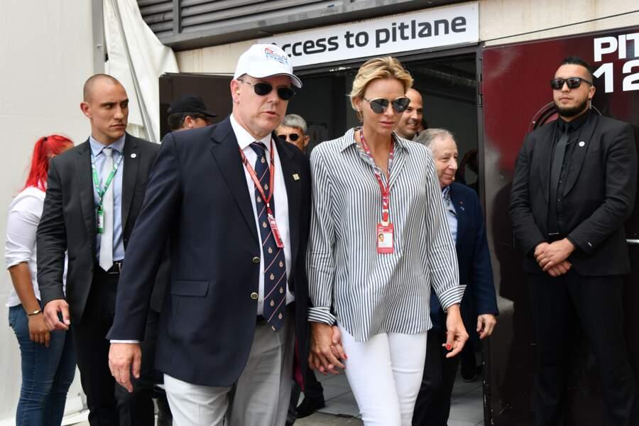 Charlène de Monaco et le prince Albert au Grand Pris de France au Castellet, le 24 juin 2018
