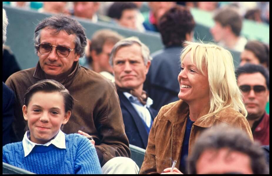 Michel Sardou, sa femme Babette et leur fils Romain à Roland Garros en 1987