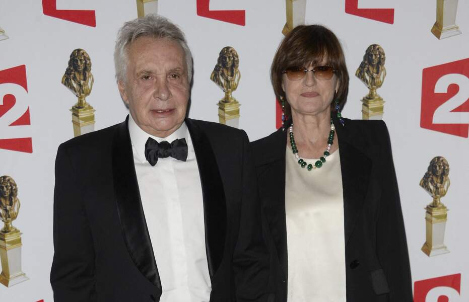 Michel Sardou et sa femme Anne-Marie Périer à la 26e nuit des Molières aux Folies Bergère à Paris, le 2 juin 2014.