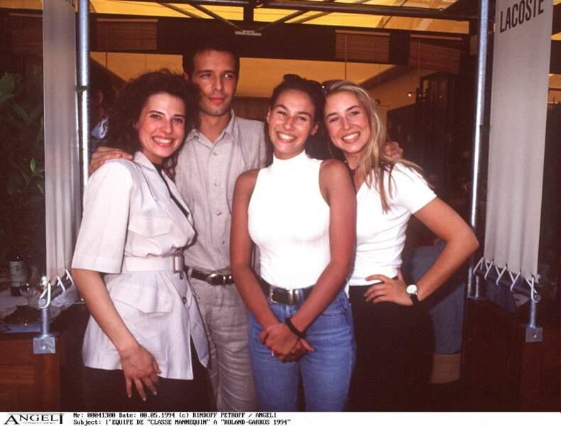 Vanessa Demouy et le casting de Classe Mannequin à Roland-Garros en 1994