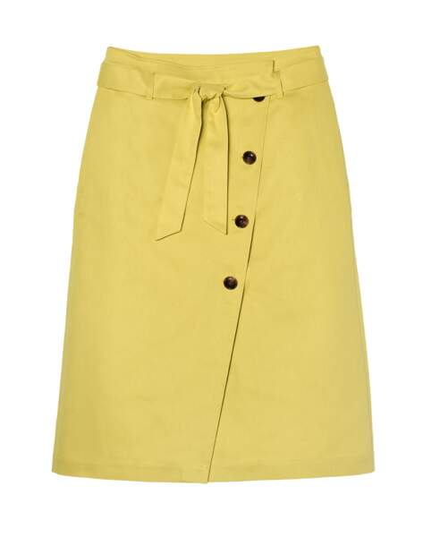 Jupe portefeuille « Loca » jaune , 69,99€, Galeries Lafayette exclusivité Go for Good
