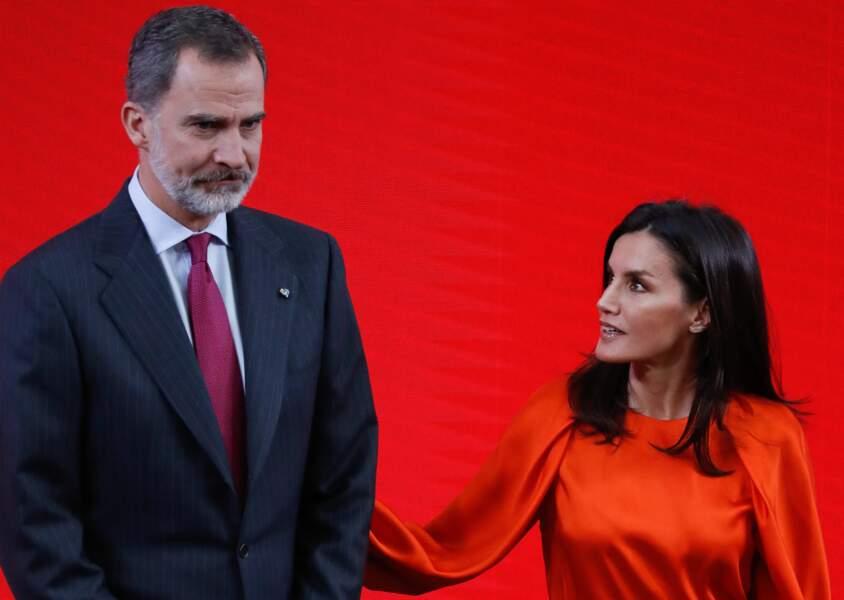 Le roi Felipe VI d'Espagne et la reine Letizia à la cérémonie Honorary Ambassadors of the Spain Brand au Palais royal du Pardo à Madrid le 3 mars 2020