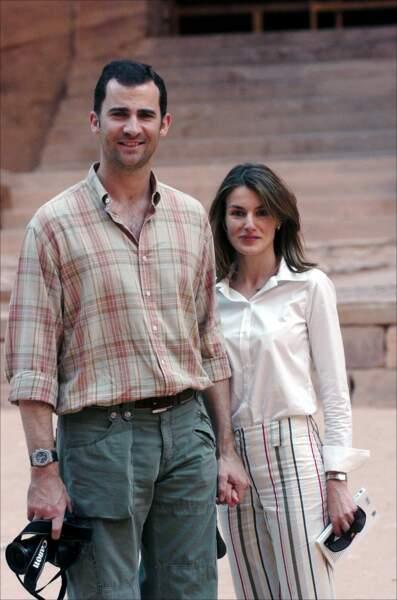 Le prince Felipe et la princesse Letizia en voyage pour leur lune de miel à Petra en Jordanie, le 31 mai 2004