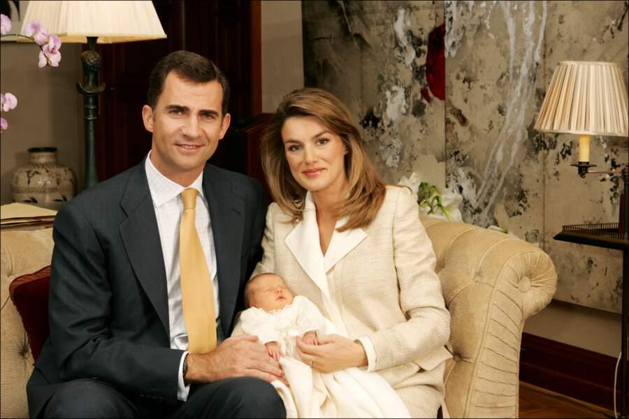 Felipe d'Espagne, son épouse, Letizia, et leur fille, Leonor