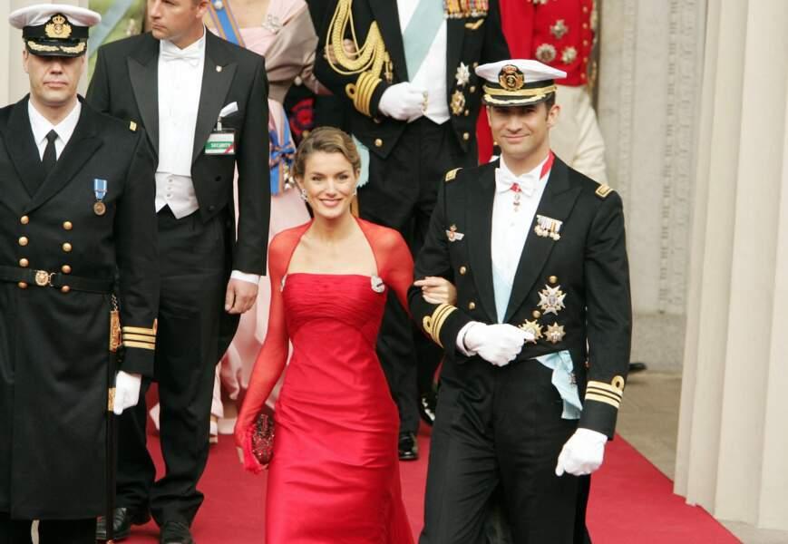 Letizia Ortiz et le prince Felipe d'Espagne au mariage de Frederik du Danemark et Mary Donaldson à Copenhague au Danemark le 14 mai 2004