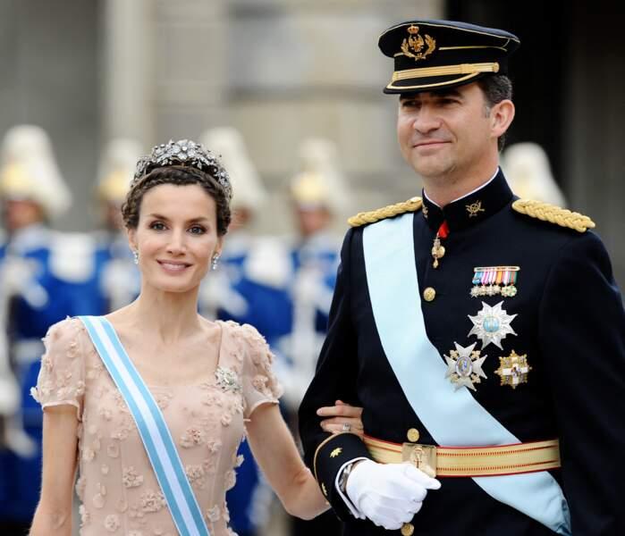 Letizia et Felipe d'Espagne au mariage de la princesse Victoria de Suède et Daniel Westling le 19 juin 2010