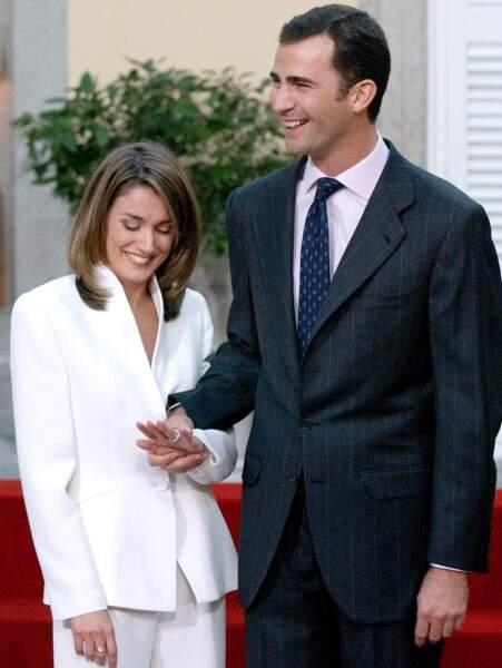 Fiançailles du prince Felipe d'Espagne et de Letizia Ortiz le 6 novembre 2003