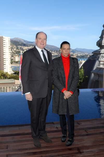 Albert II et Stéphanie de Monaco lors de l'inauguration de la suite Rainier III à l'Hôtel de Paris à Monaco le 29 janvier 2019.