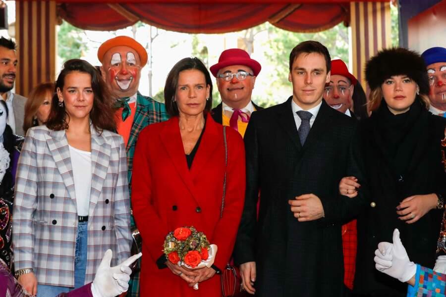 Stéphanie de Monaco entourée de ses trois enfants Pauline et Louis Ducruet et Camille Gottlieb lors du 44ème Festival International du Cirque de Monte-Carlo à Monaco le 19 janvier 2020.
