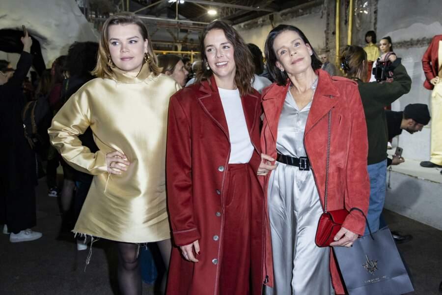 """Stéphanie de Monaco et ses filles, Camille Gottlieb et Pauline Ducruet lors du défilé de mode prêt-à-porter """"Alter"""" le 25 février 2020."""