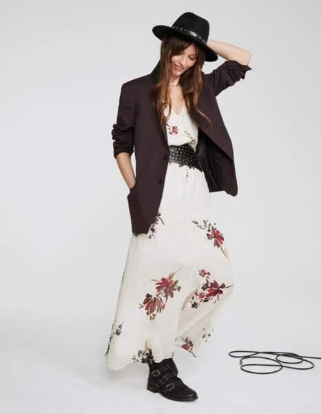 Robe longue en voile de viscose imprimé floral - IKKS, 80€