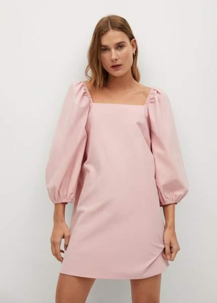 Robe rose à manches bouffantes - Mango, 50€