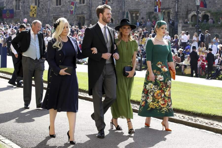 Ici, Lady Eliza Spencer, Louis Spencer, Victoria Aitken et Lady Kitty Spencer le 19 mai 2018 à Londres, au mariage de Meghan Markle et du prince Harry