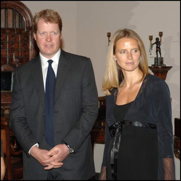 Le comte Charles Spencer et sa deuxième femme Caroline Freud - mère de sa fille Lara, 14 ans - le 12 janvier 2006 à Althorp House