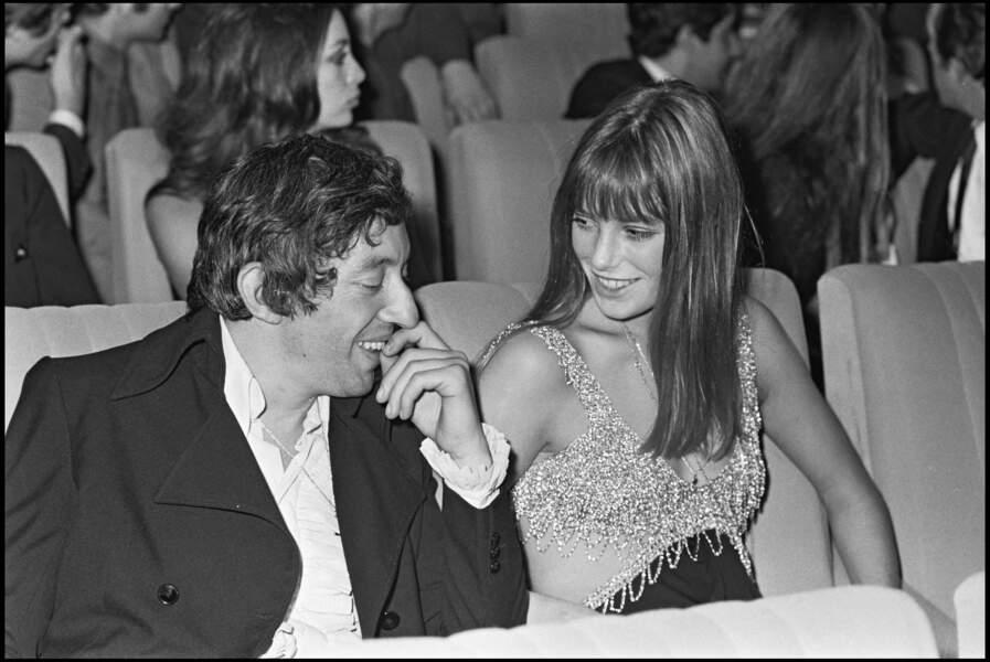 Serge Gainsbourg et Jane Birkin en 1968 à la première du film Rosemary's Baby.