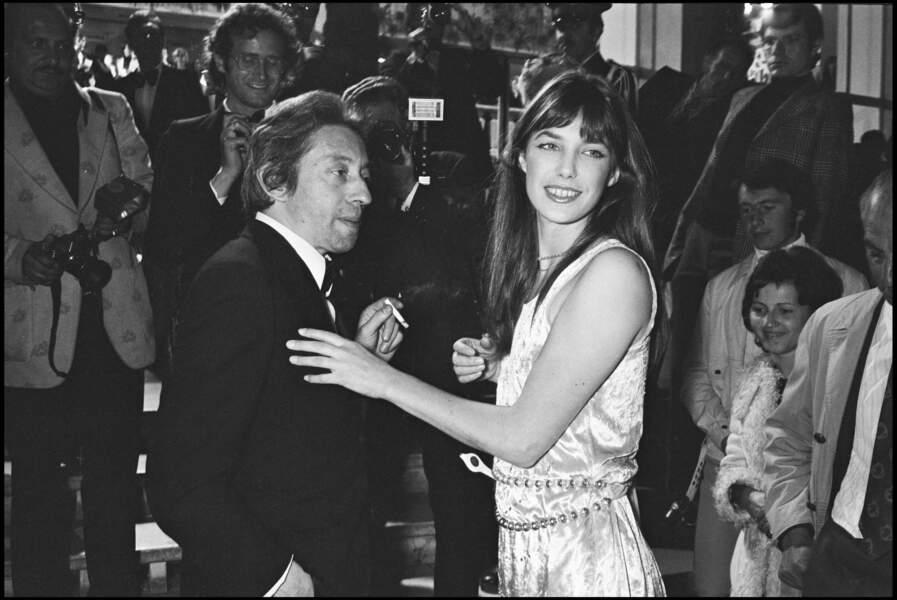 Serge Gainsbourg et Jane Birkin au Festival de Cannes en 1974.