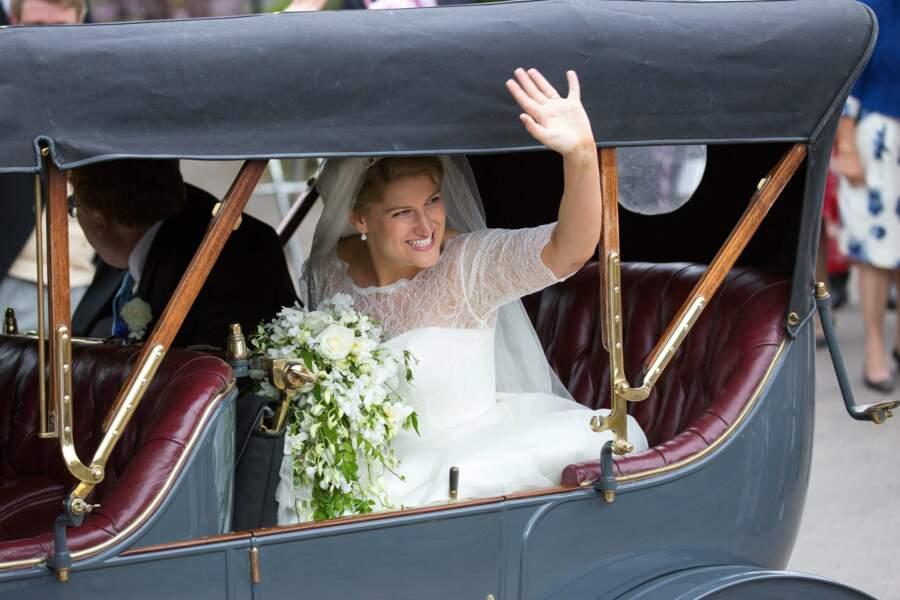 Celia McCorquodale lors de son mariage avec George Woodhouse à Stoke Rochford, le 16 juin 2018