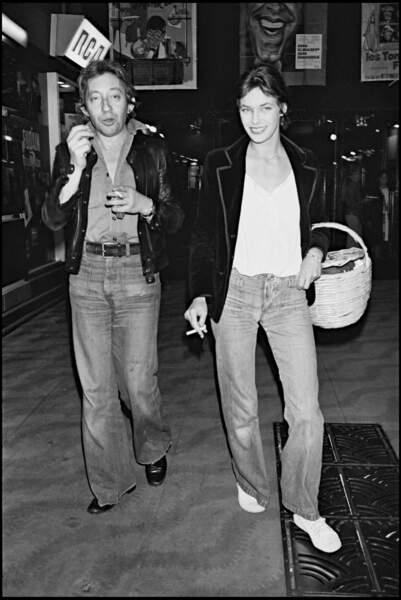Serge Gainsbourg et Jane Birkin à la première de Jerry Lewis en 1976.