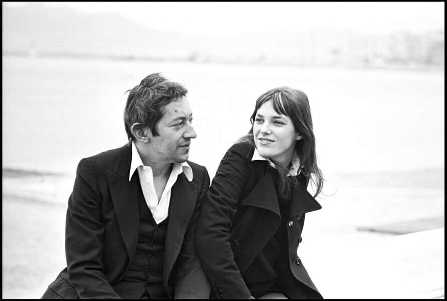 Serge Gainsbourg et Jane Birkin sur la croisette de Cannes en 1969.