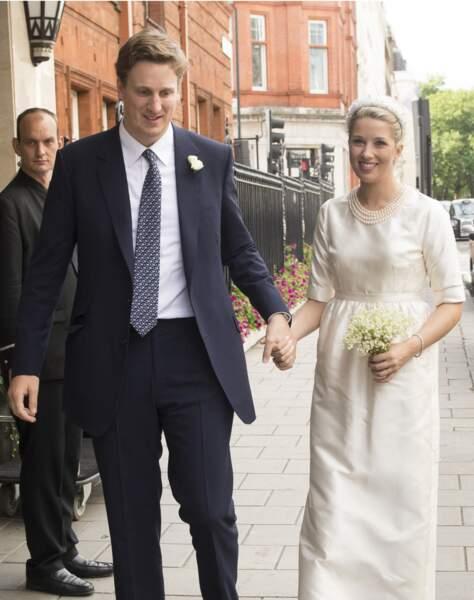 Alexander Fellowes et sa femme Alexandra Findlay à Westminster pour leur mariage le 20 septembre 2013