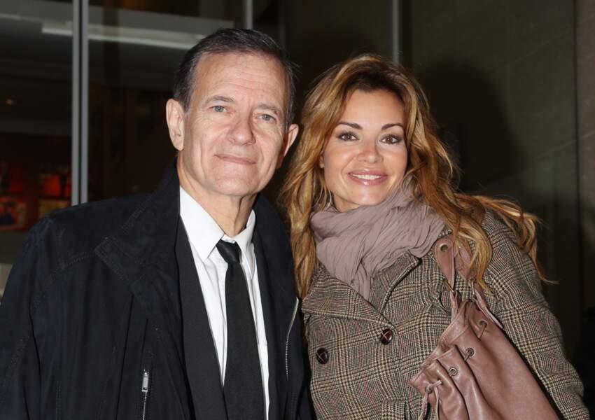 Ingrid Chauvin avec Francis Huster, lors de la promotion de leur pièce de théâtre 'Avanti!' au Théâtre des Bouffes Parisiens, en septembre 2015.