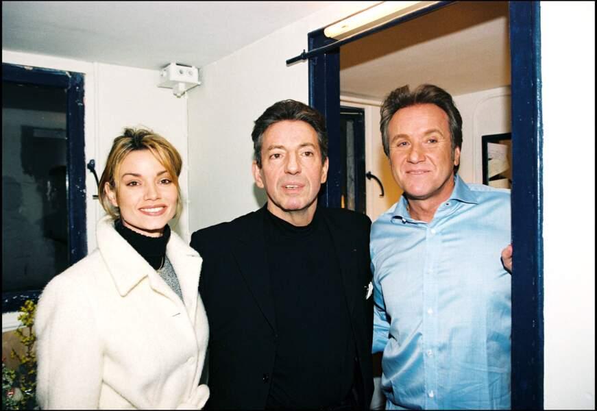 """Ingrid Chauvin, avec Michel Creton et Yves Rénier, à la générale de la pièce """"Obsessions"""", en février 1998. Elle a 25 ans."""