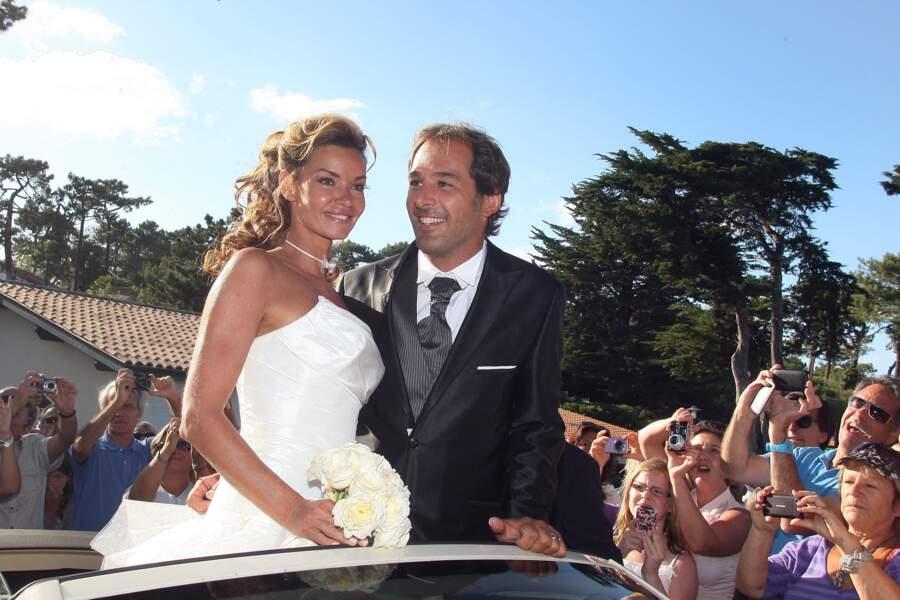 Ingrid Chauvin, lors de son mariage avec Thierry Peythieu, le 27 août 2011 à Lege Cap-Ferret. Le couple s'est séparé en novembre 2020.