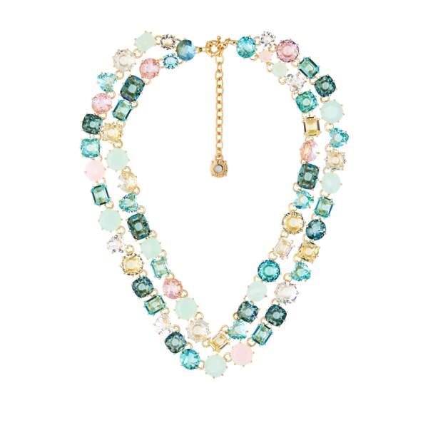 Collier deux rangs « La Diamantine » Acqua Azzurra en verre taillé et laiton doré à l'or fin,  590€, Les nereides