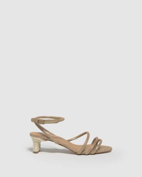 Sandale à talon confectionnée en cuir matelassé, 175€, Castaner